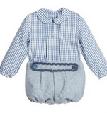 Boys Blue Gingham Cotton Shirt & Shorts Set - Classical Child  - 1