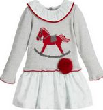 Grey & Red Sweater Dress with Fur Pom Pom - Classical Child  - 1