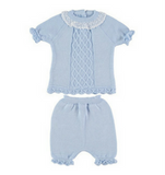 Short Lattice Spanish Knitwear Set