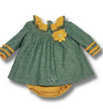 Girls Matching Green & Mustard Set - Classical Child  - 1