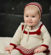 Girls Beige & Burgundy Knitted Dress - Classical Child  - 1
