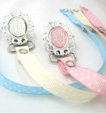 Crystal on Silver Pacifier Clip