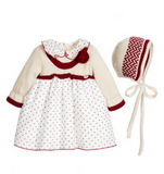 Baby Girls Dress & Bonnet Set