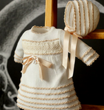 Ivory Knitted Dress & Bonnet Set