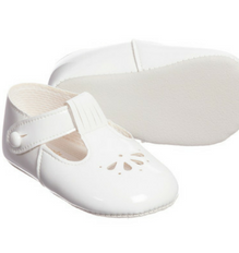 White Baypods T-bar with petal punch design baby shoe - Classical Child  - 1