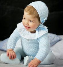 Baby Boys Blue Knitted Top & Bloomers Set