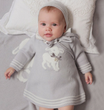 Grey Knitted Wool Dress with Lamb