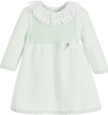 Girls Green Knitted Wool Dress