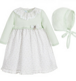 Pale Green Dress & Bonnet Set