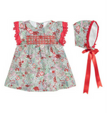 Red & Green Floral Dress Set - Classical Child  - 1