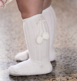 White Pom Pom Knee High Socks | classical child