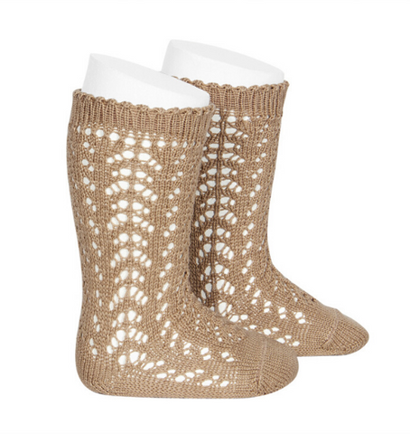 Tan Long Open Lace Socks | Condor