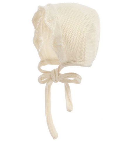 Detailed Cream Baby Bonnet | Foque