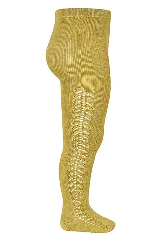 Openwork Side Warm Tights Mustard | Condor