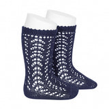 Navy Long Open Lace Socks | Condor