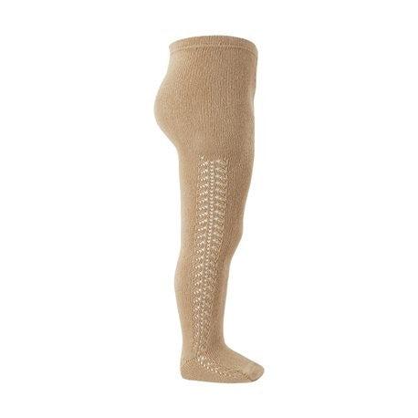 Openwork Side Warm Tights Camel