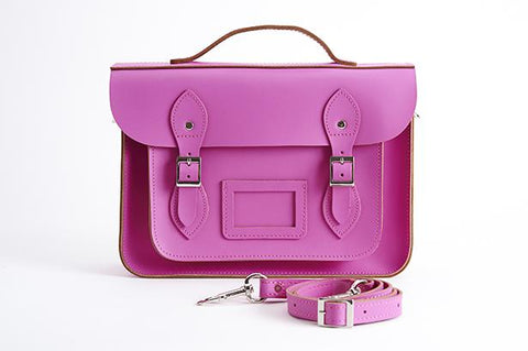 Pink Leather Satchel 13""