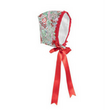 Red & Green Floral Bonnet - Classical Child  - 1