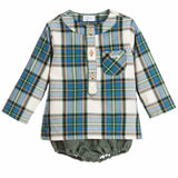 Boys Green Check Shirt & Shorts Set