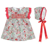 Red & Green Floral Dress Set - Classical Child  - 5
