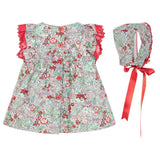 Red & Green Floral Dress Set - Classical Child  - 6