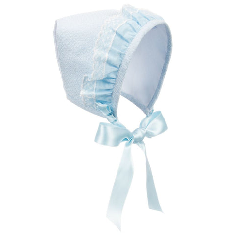 Blue Lace Baby Bonnet