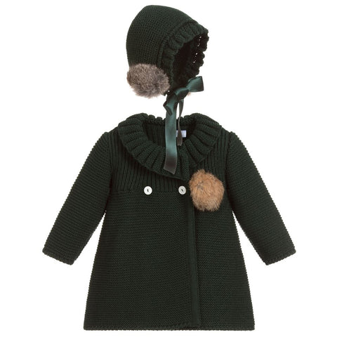 Green Knitted Coat Set