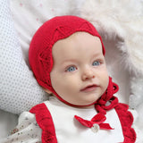 Detailed Red Baby Bonnet | Foque