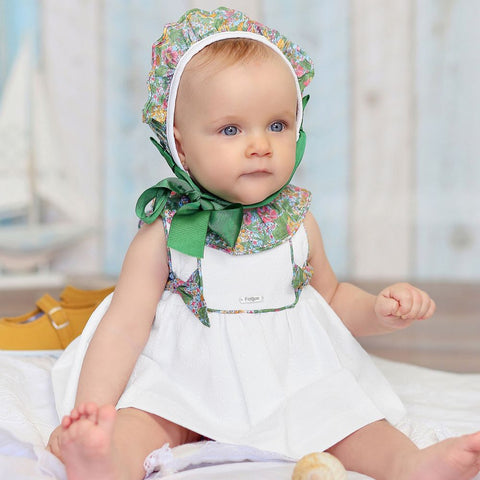 White & Green Floral Dress Set | Foque