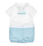 White & Blue Smocked Set - Classical Child  - 1