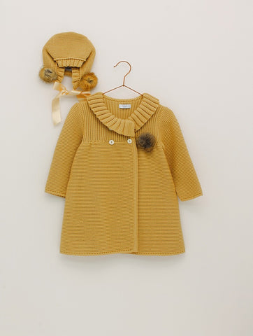 Mustard Knitted Coat Set | Foque