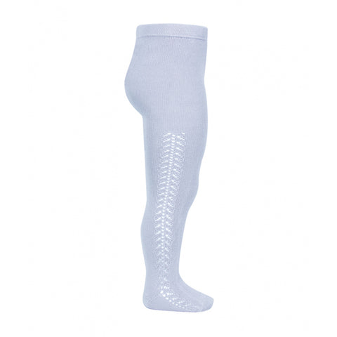 Openwork Side Warm Tights Baby Blue