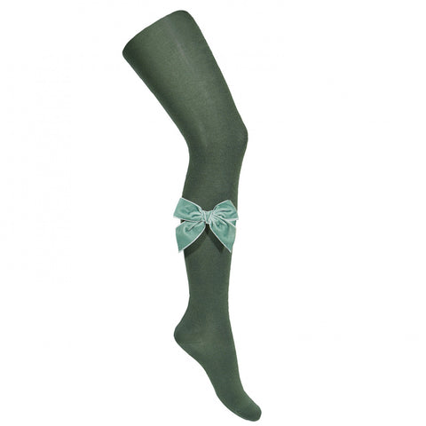 Moss Velvet Bow Tights