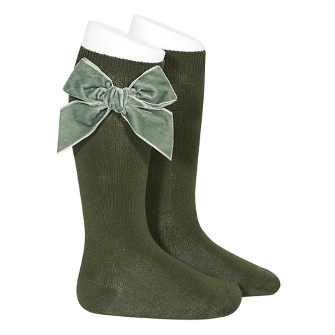 Moss Large Velvet Bow Socks
