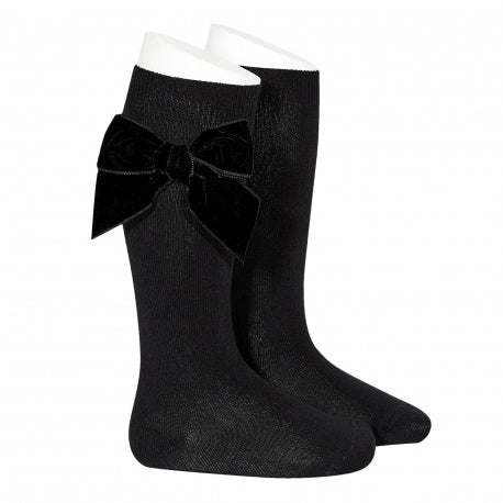 Black Large Velvet Bow Socks