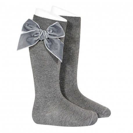 Grey Large Velvet Bow Socks
