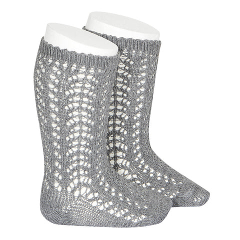 Warm Crochet Socks Grey
