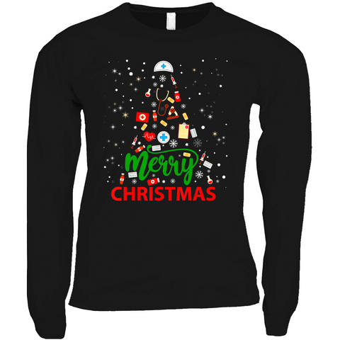 Merry Christmas Medical Tree - Long Sleeve Shirts