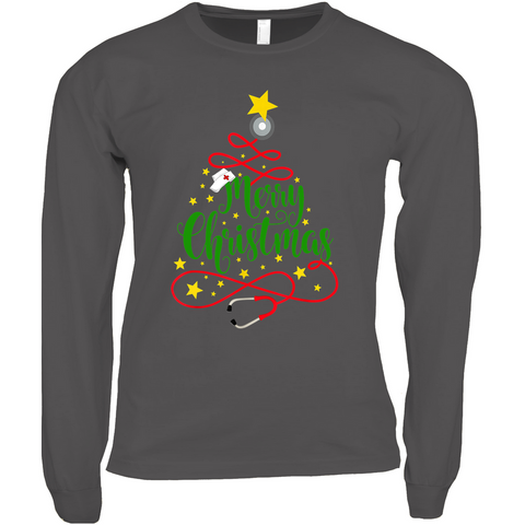 Merry Christmas, Stethoscope Tree with Nursing Hat - Long Sleeve Shirts