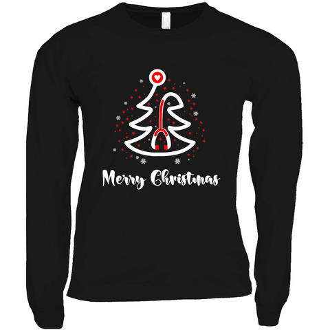 Red and White Stethoscope Tree - Long Sleeve Shirts