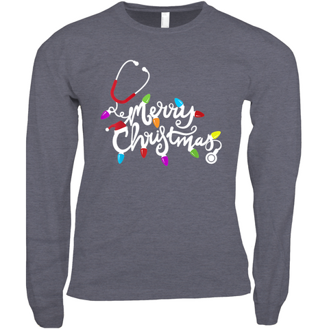 Merry Christmas Lights and Stethoscope - Long Sleeve Shirts