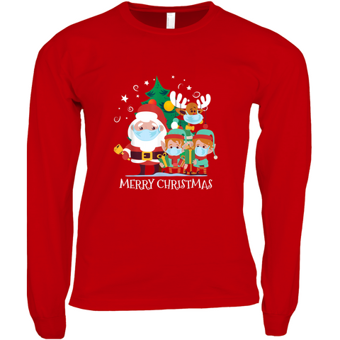 Merry Christmas- Santa, elves, and reindeer with masks - Long Sleeve Shirts