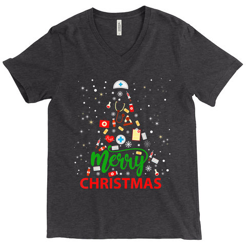 Merry Christmas Medical Tree- V neck T-Shirts