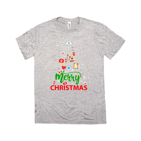 Merry Christmas Medical Tree - Short sleeve Unisex crew neckT-Shirts