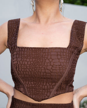 Alexia Square Neck Corset Top in Chocolate Brown MADE IN AUSTRALIA