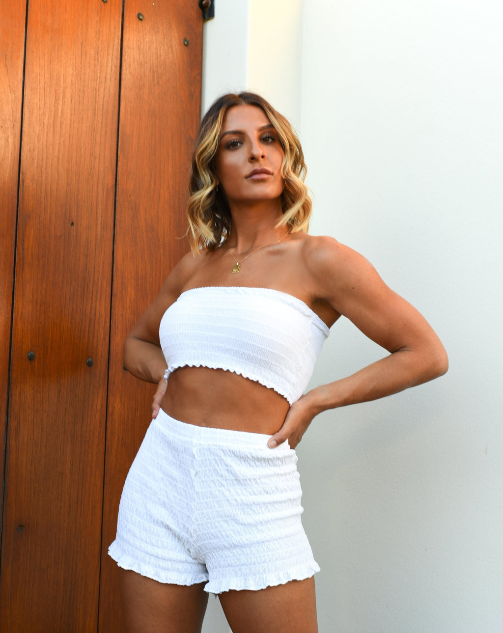 Arianna Shirred Crop Top in White MADE IN AUSTRALIA