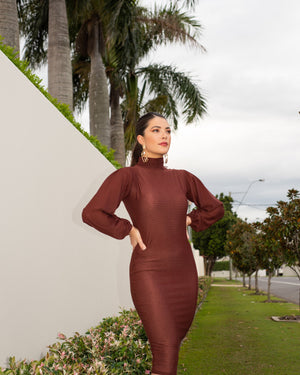 Arianna Shirred Puff Sleeve Dress in Chocolate Brown MADE IN AUSTRALIA
