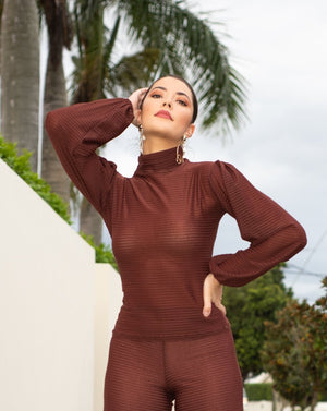 Arianna Shirred Puff Sleeve Top in Chocolate Brown MADE IN AUSTRALIA