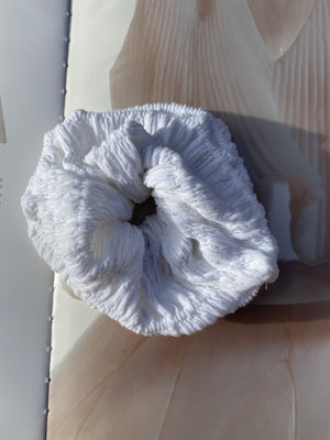 Arianna White Soft Gathered Scrunchie freeshipping - Evangeline