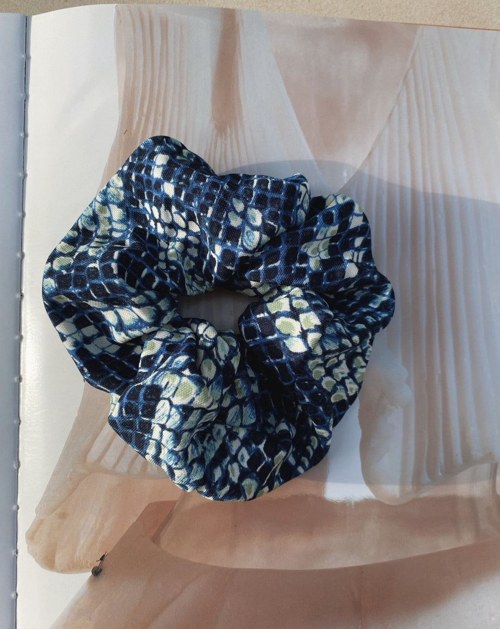 Blue Snakeskin Scrunchie freeshipping - Evangeline